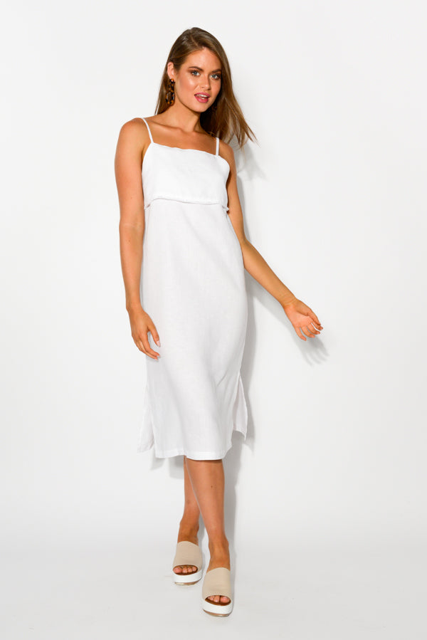 White Linen Lovina Dress - Blue Bungalow