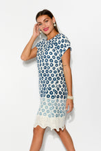 Campania Blue Embroidery Cotton Dress - Blue Bungalow