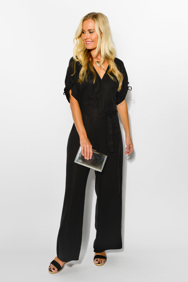 Black Malibu V-Neck Jumpsuit - Blue Bungalow