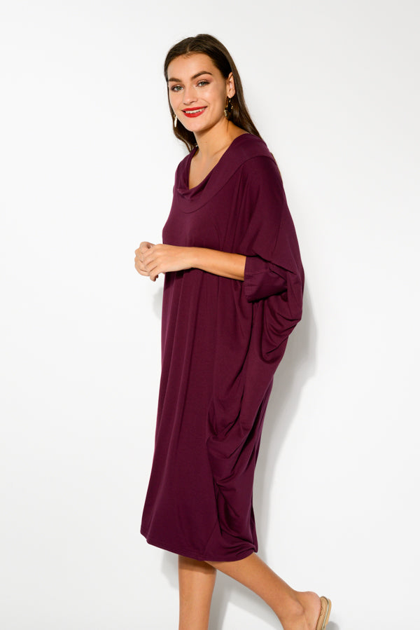 Wine Cowl Neck Batwing Dress