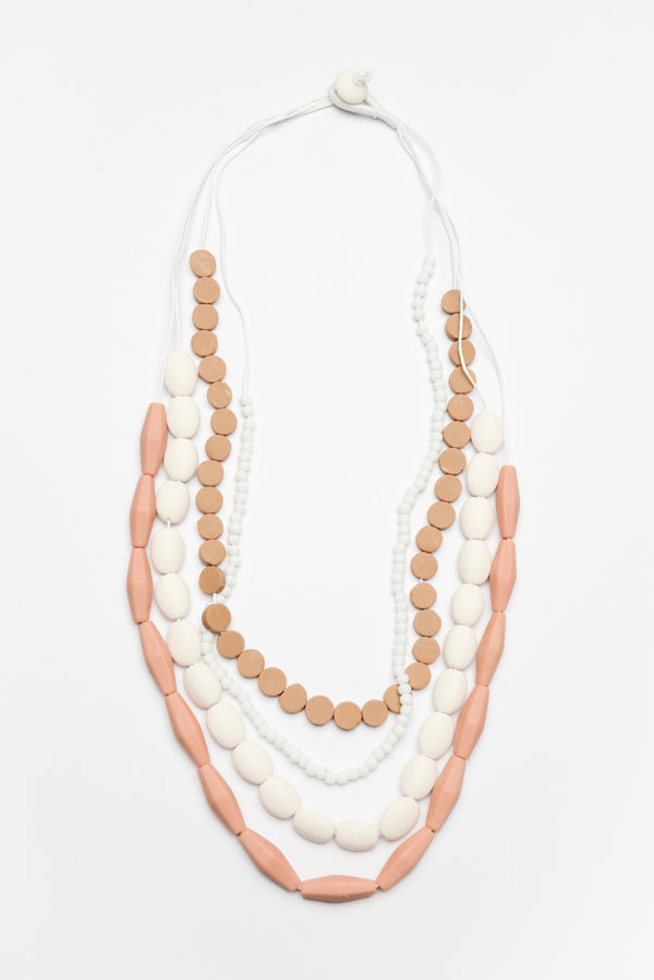 Multi Strand Beige Bead Necklace - Blue Bungalow