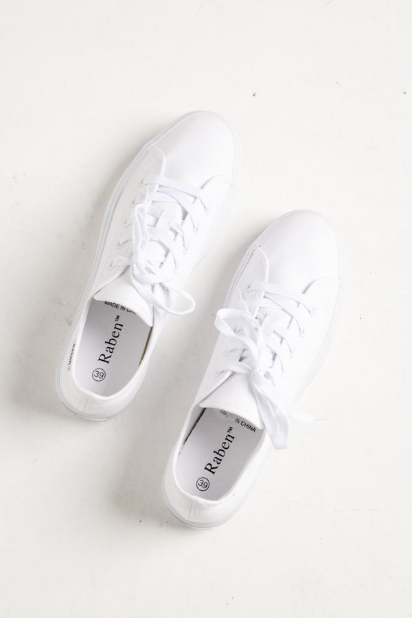 Aya White Canvas Sneaker - Blue Bungalow