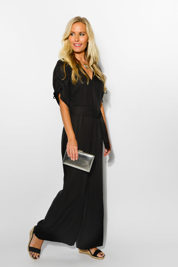Black Malibu V-Neck Jumpsuit