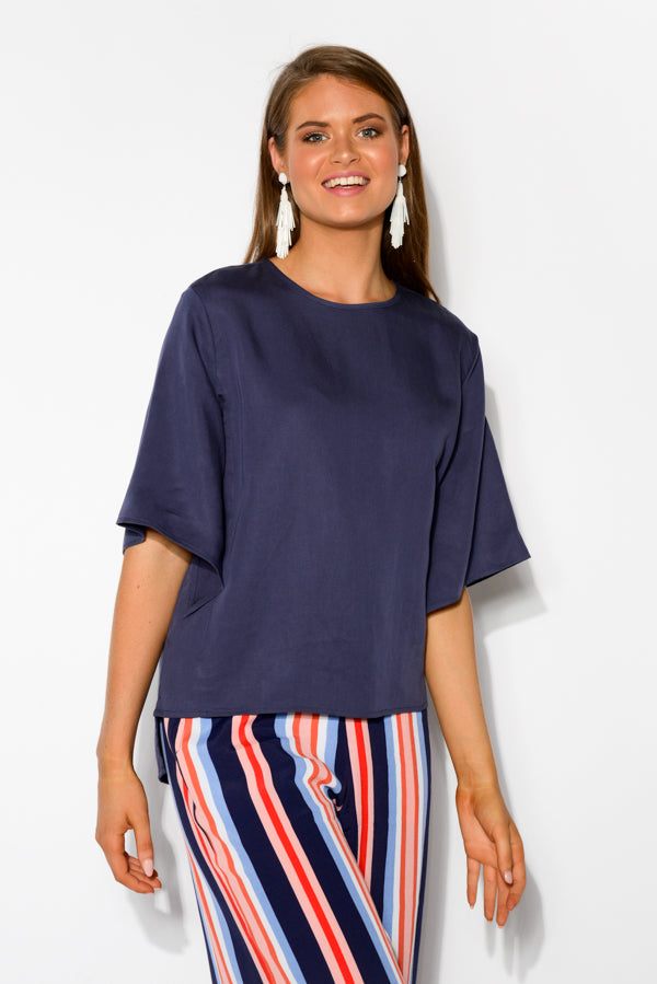 Navy Split Sleeve Top - Blue Bungalow