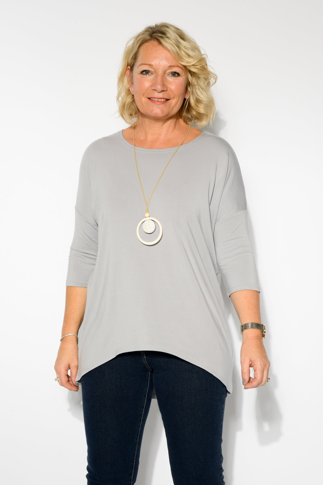 Spencer Silver Bamboo Top - Blue Bungalow