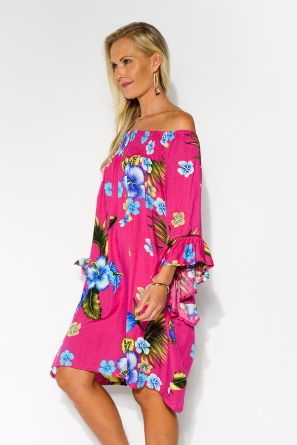 Pink Hibiscus Amy Dress - Blue Bungalow