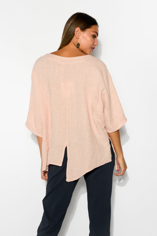 Kara Blush Linen Top - Blue Bungalow