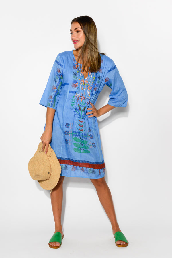 Bangalow Blue Cotton Dress - Blue Bungalow