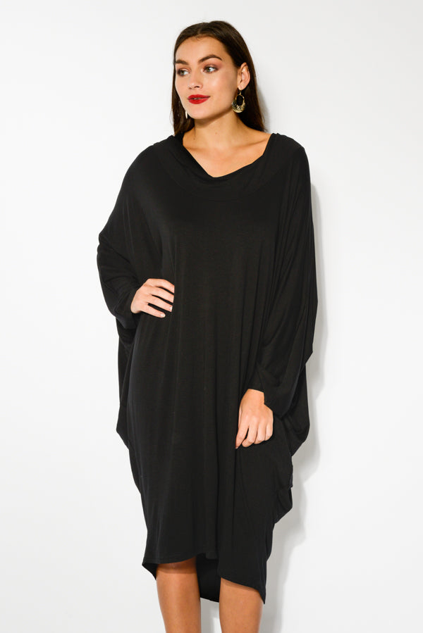 Black Cowl Neck Batwing Dress