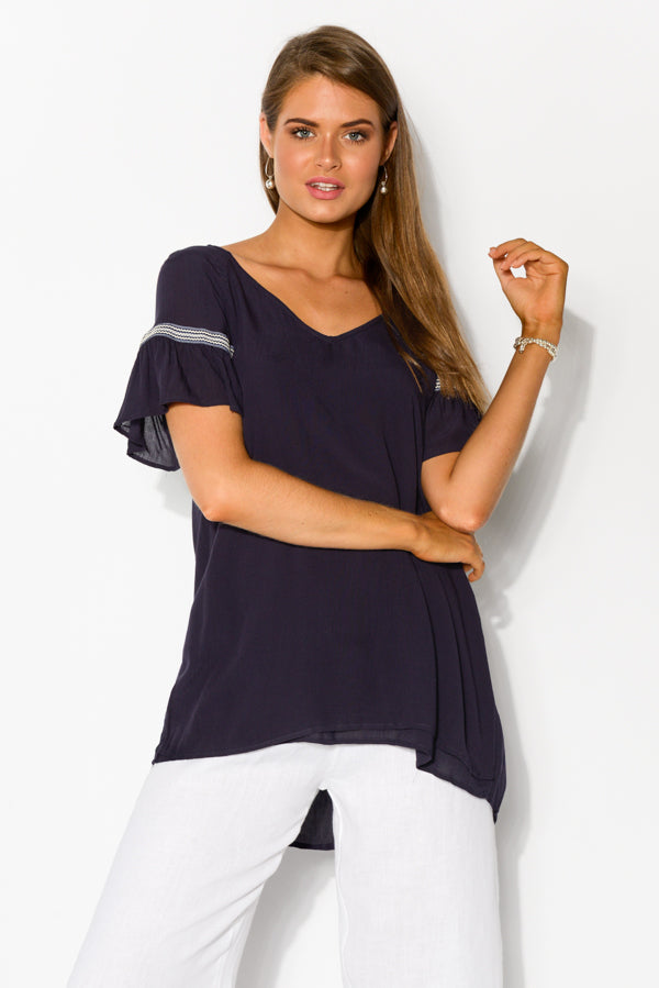 Bliss Navy Embroidered Top - Blue Bungalow