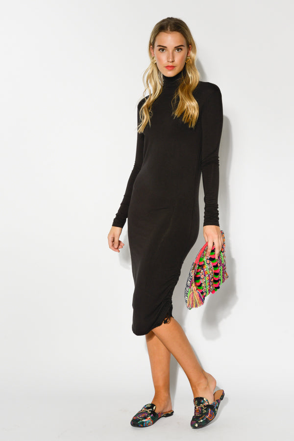 Black Turtleneck Bamboo Dress