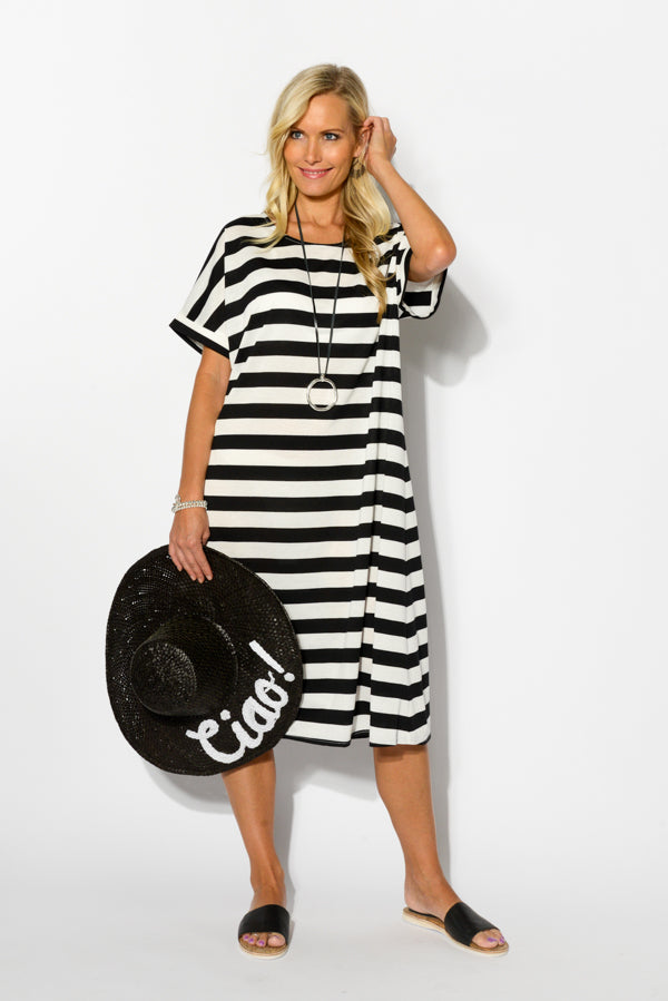 Black Stripe Relaxed Cotton Dress - Blue Bungalow