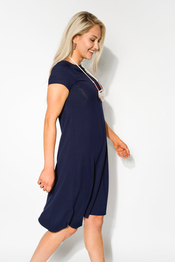 Navy Belle Bamboo Boat Neck Dress