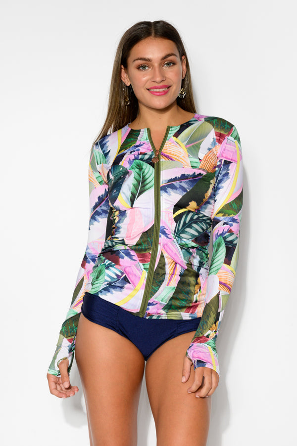Adriana Ama Rio Sleeved Swim Top - Blue Bungalow