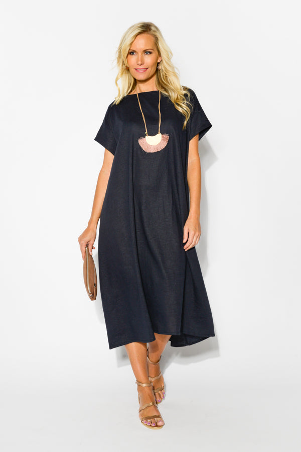 Navy Ruched Back Swing Dress - Blue Bungalow