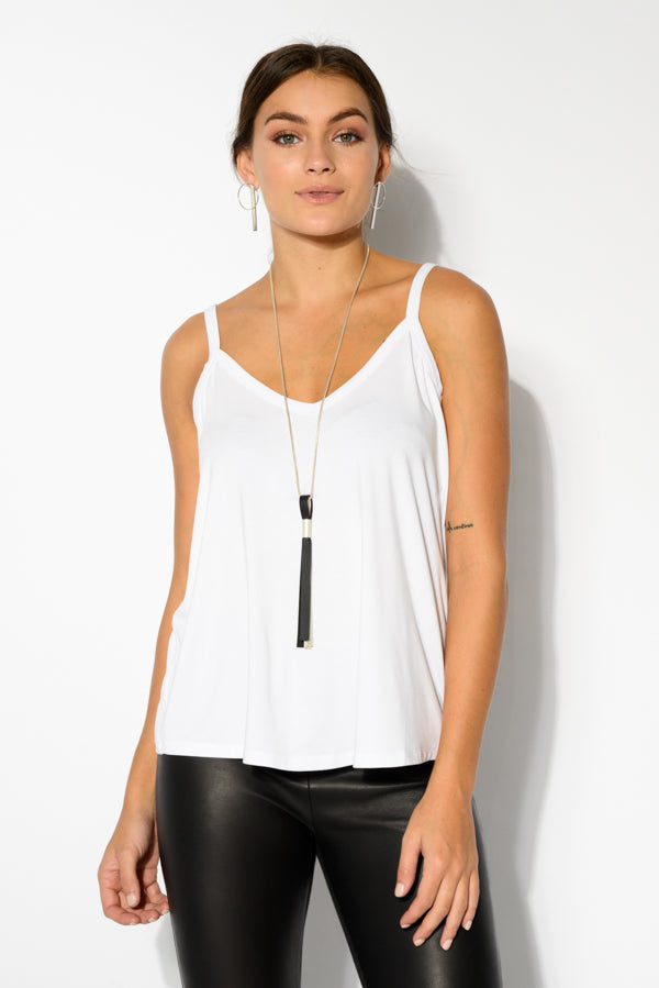 Donna White Bamboo Cami - Blue Bungalow