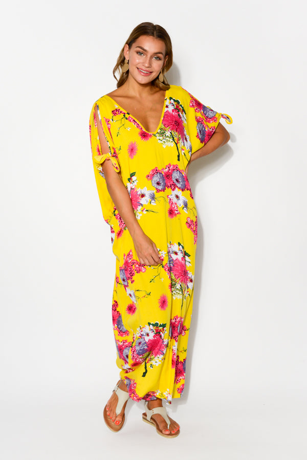 Mykonos Yellow Floral Cold Shoulder Kaftan - Blue Bungalow