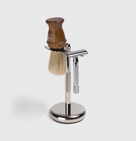 Chrome Brush & Razor Stand
