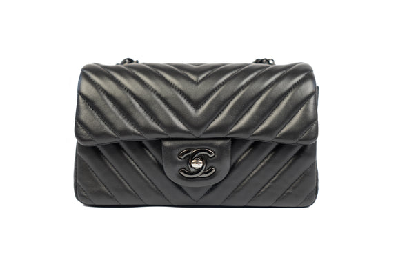 Chanel So Black Chevron Mini Flap Bag