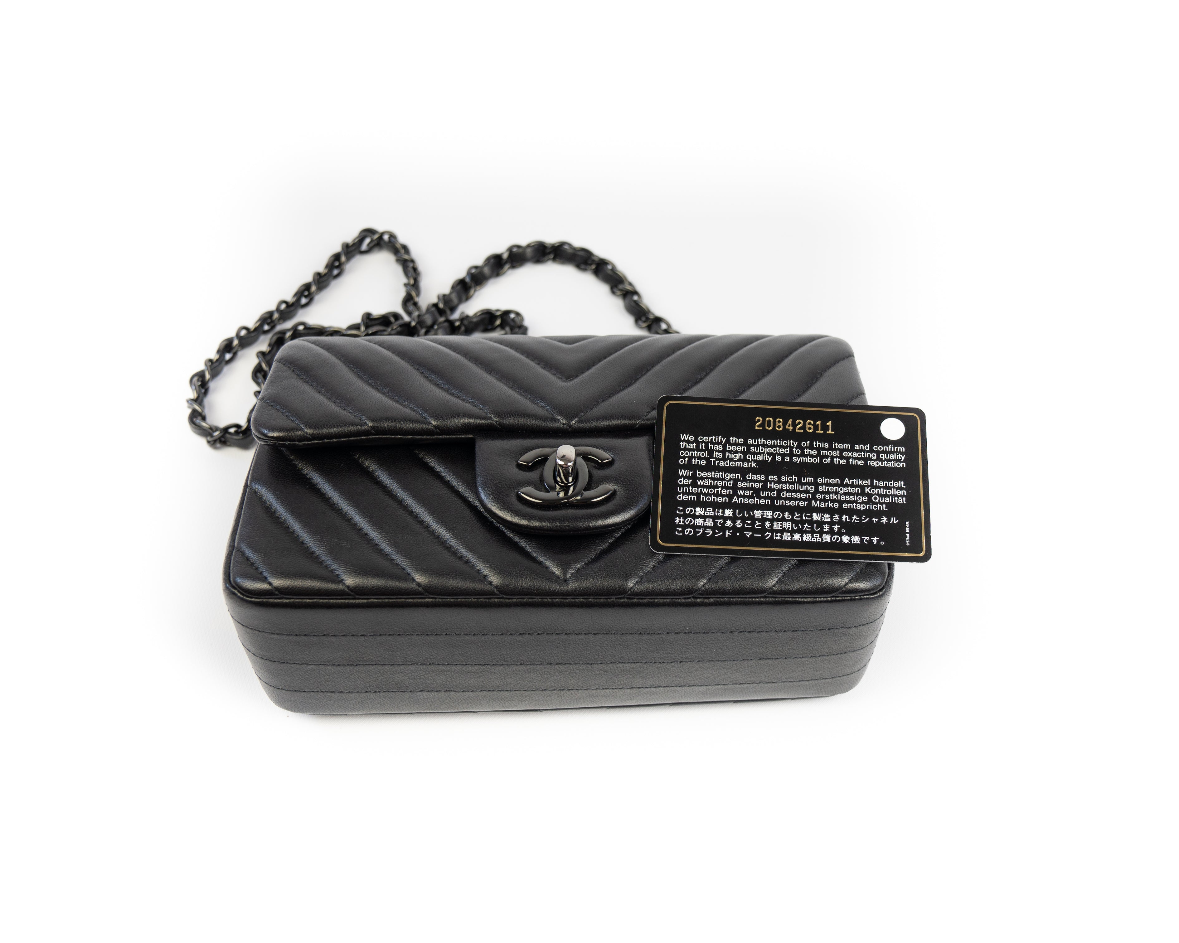 b0f89b68f34a Chanel So Black Chevron Mini Flap Bag – Simply Chic Consignment
