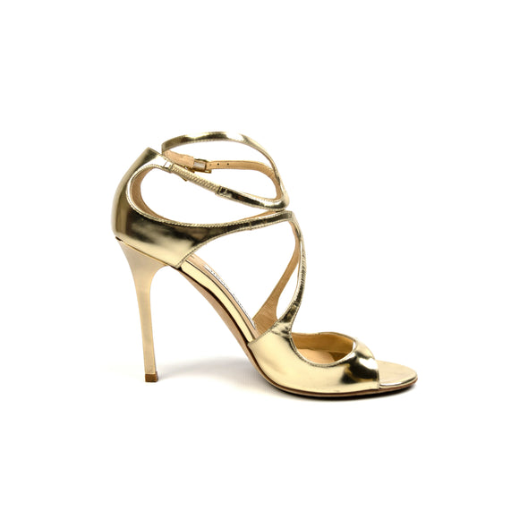 Jimmy Choo Gold Peep-Toe Sandals