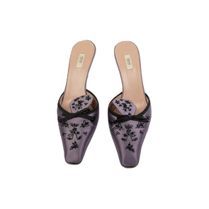 Prada Flower-Embroidered Mules