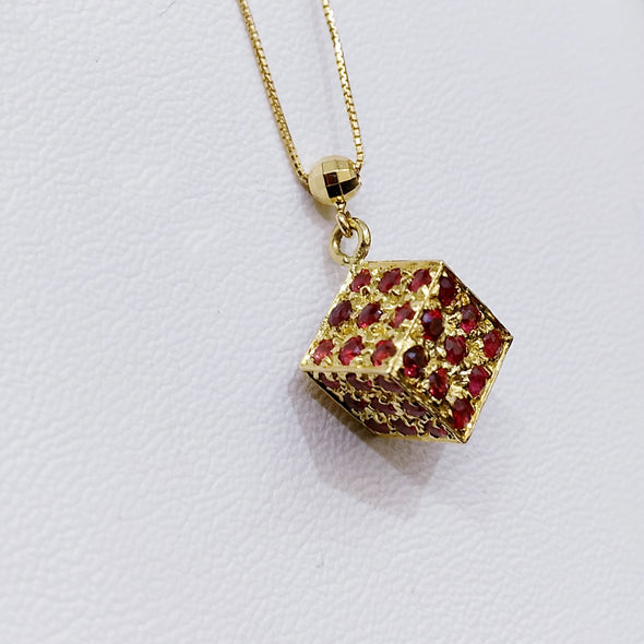 Ruby Magic Cube Pendant Necklace