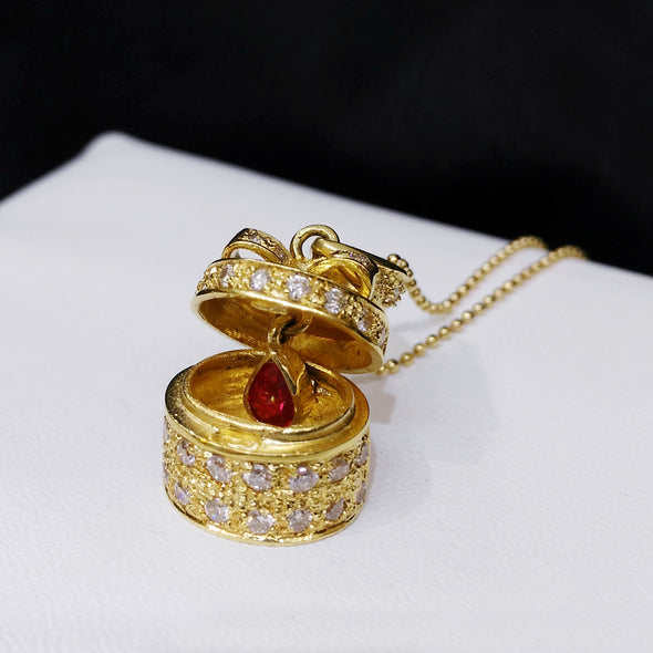 Ruby Diamond Gift Box Pendant Necklace