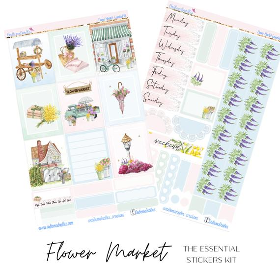 Flower Market Essential Planner Sticker Kit
