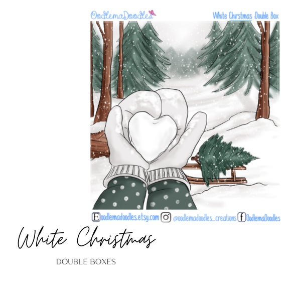 White Christmas Decorative Double Box Sticker