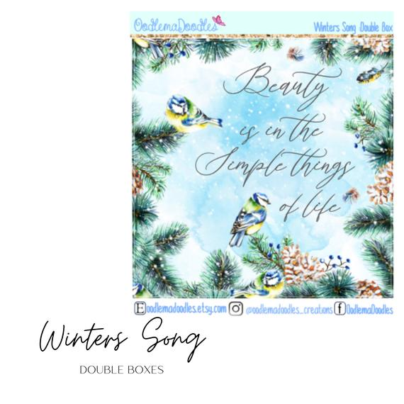 Winters Song Decorative Double Box Sticker