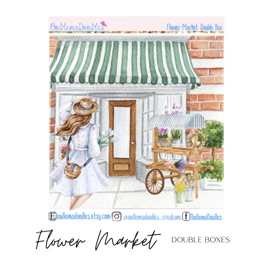 Flower Market Decorative Double Box Sticker