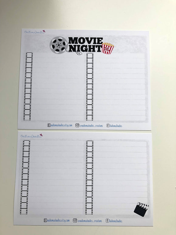 Movie Tracker Notes Page Stickers