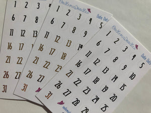 Foiled Date Dot Stickers