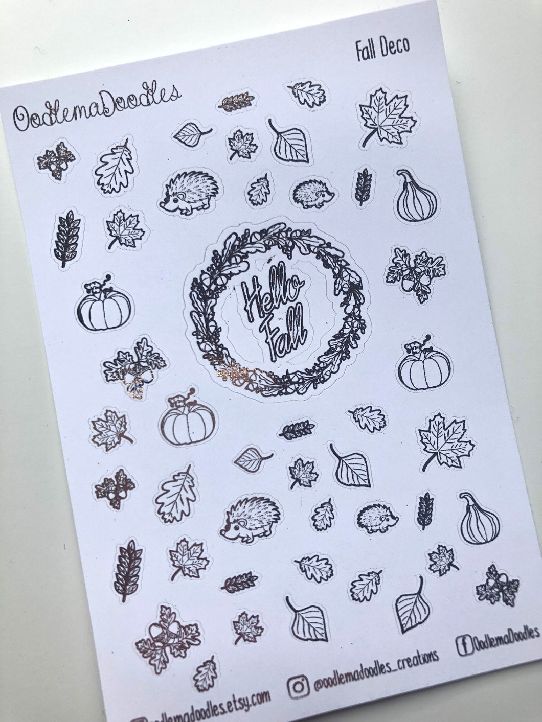 Foiled Fall Deco Stickers