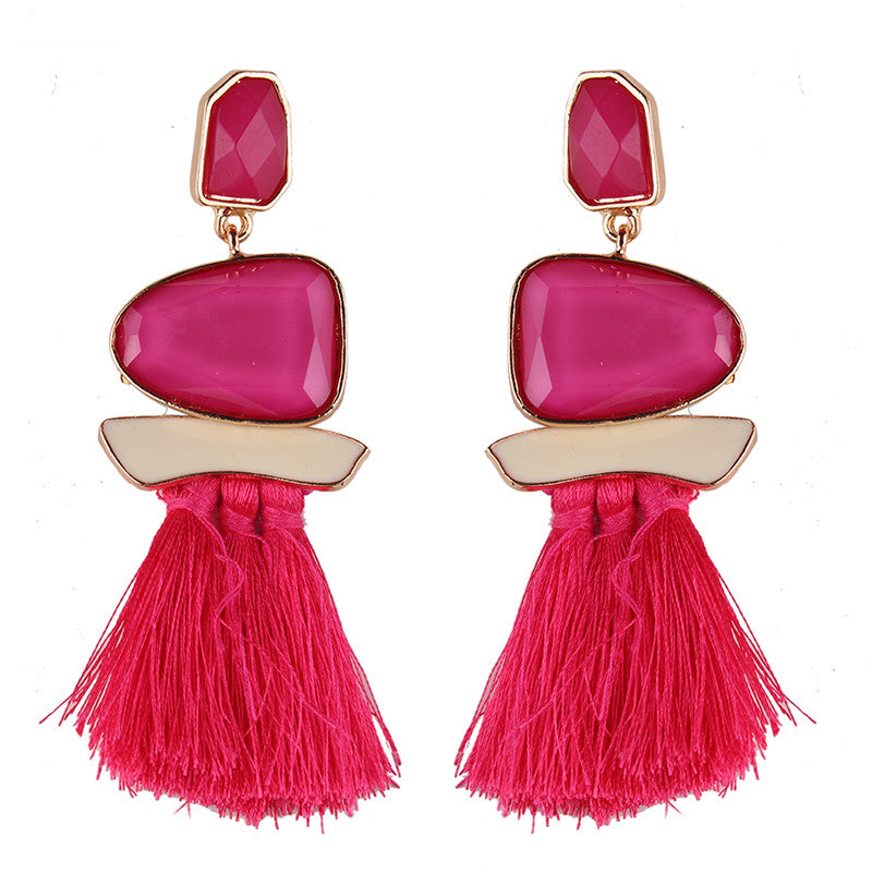 European and American style fashion big earrings alloy drop oil resin long tassel earrings female exaggerated earrings