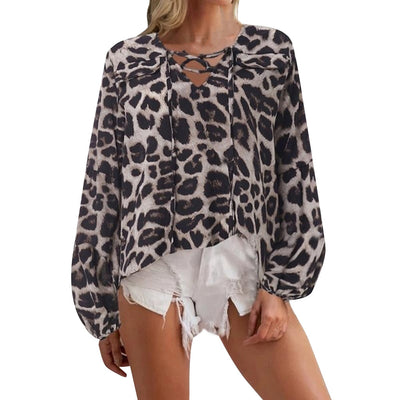 Leopard print loose long sleeve shirt women