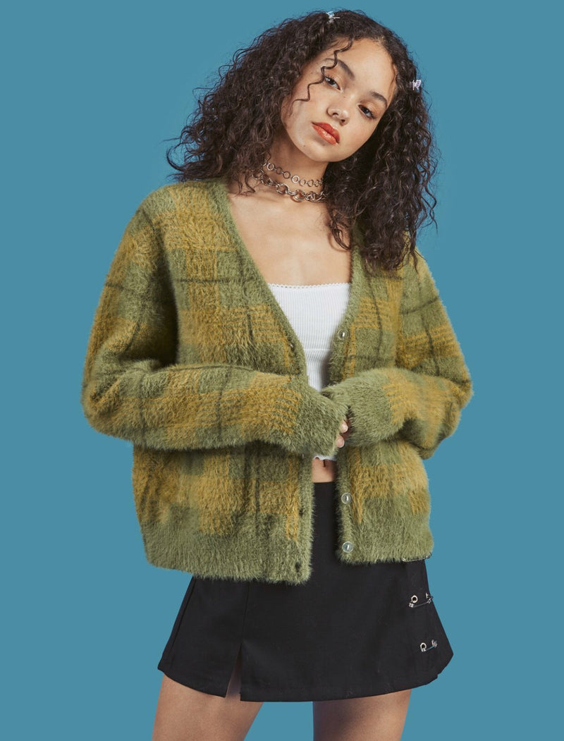 Autumn and winter new vintage velvet plaid sweater cardigan