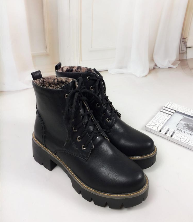 Plus Size 34-43 Autumn Winter warm Fashion Women's Lace-Up Women Snow Boots