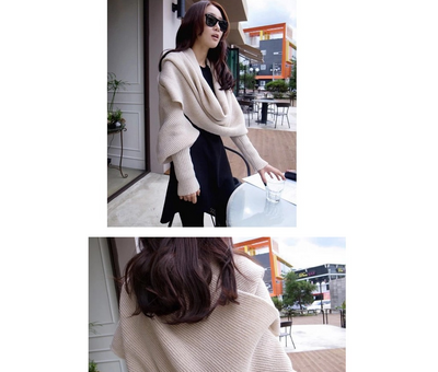 Autumn and winter new V-shaped cross-neck collar off-shoulder knit sexy pullover sweater scarf
