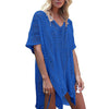 Loose knit beach dress with straps for vacation