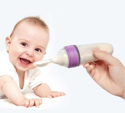 Baby Feeding Bottle Toddler Silicone Squeeze Feeding Spoon