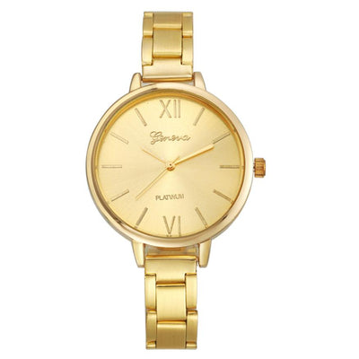 Geneva Fine Strip Steel Alloy Watch Quartz Watch Ladies Watch