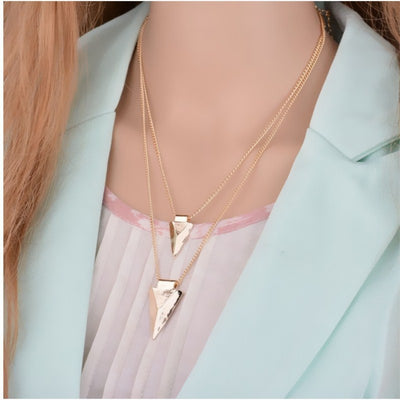 Multilayer triangle sweater chain clavicle chain