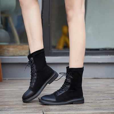 Flat lace-up elastic boots