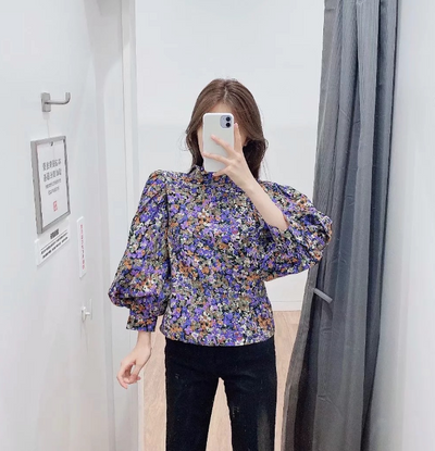 Women's Joker Thin Thin Turtleneck Print Shirt