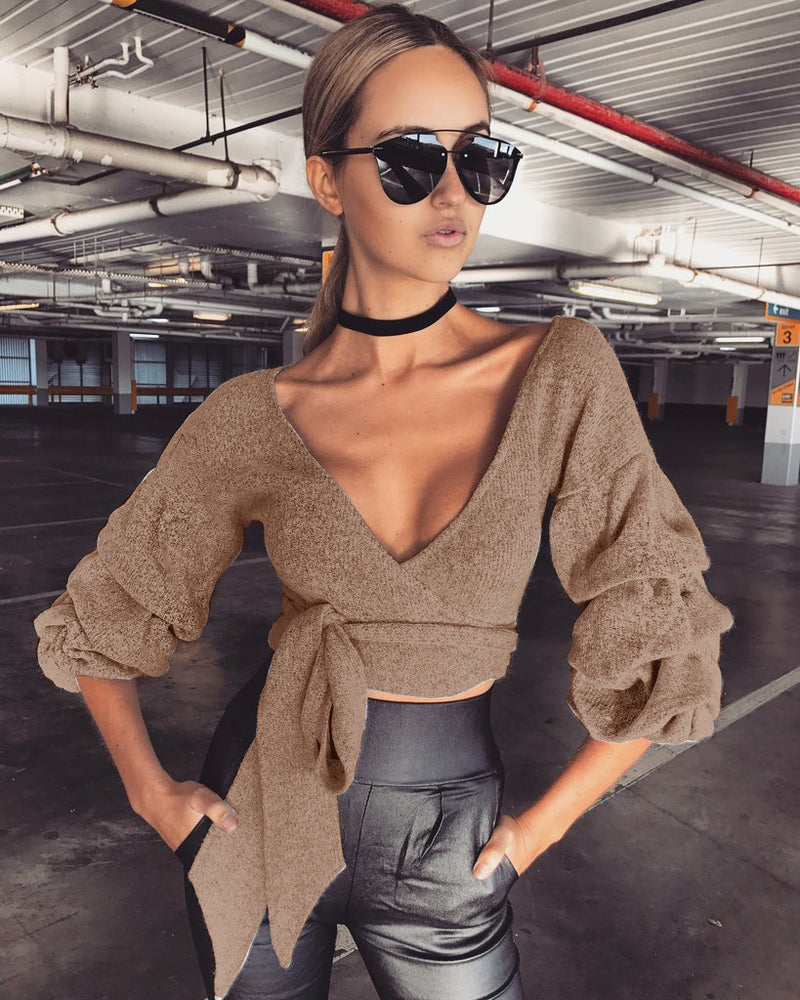 Hot version warm tie top bottoming blouse women's top with lady