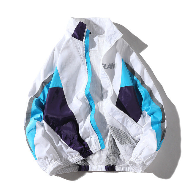 No sports reflective color matching couple jacket
