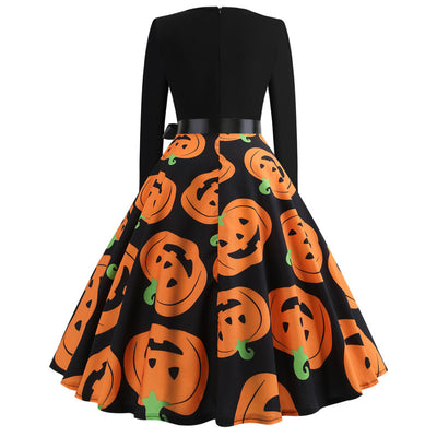 Halloween Print Long Sleeve Dress