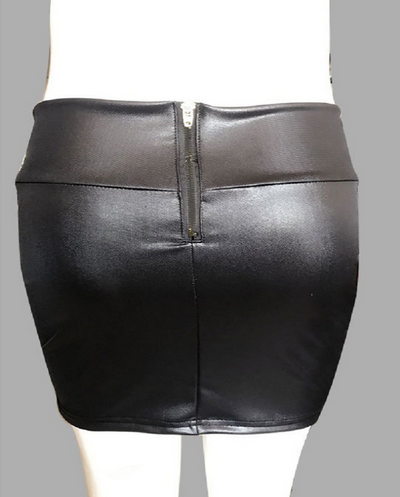 Explosion models high waist bag hip half-length leather skirt with zipper imitation leather skirt large size women's clothing
